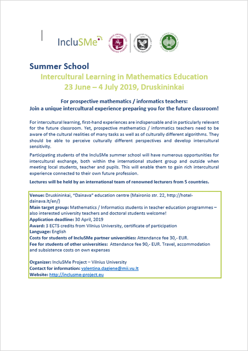 IncluSMe Summer School Booklet 2019